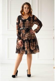 czarna sukienka ze złotym wzorem - przód
