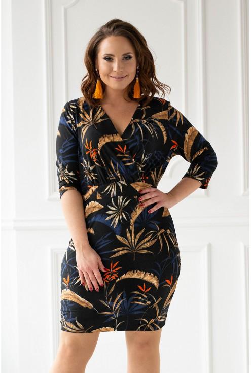 czarna sukienka z roślinnym wzorem - duże rozmiary