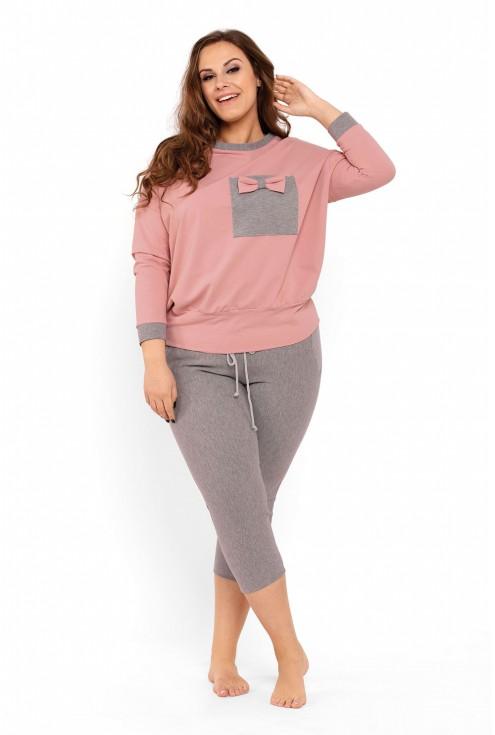 komplet piżama damska plus size różowo szara