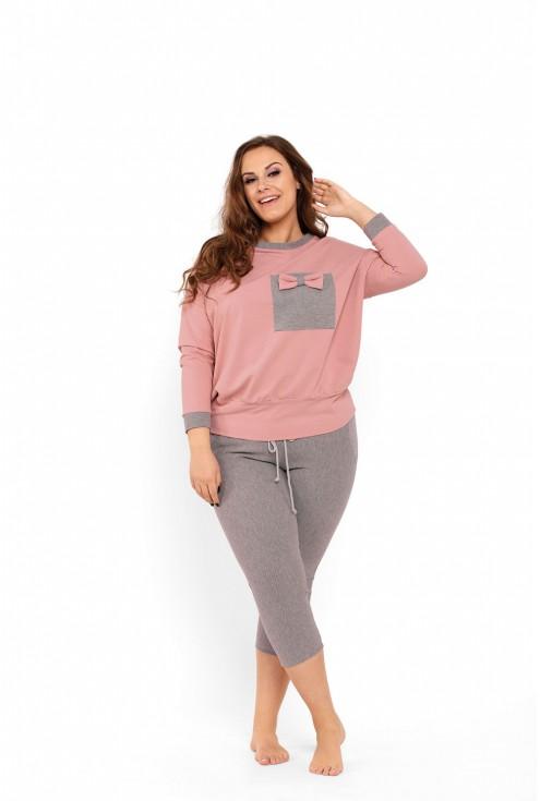 Różowo-szary komplet piżamy - bluza + spodnie - PENELOPE