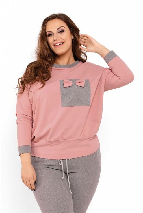 piżamka damska xxl szaro-różowa