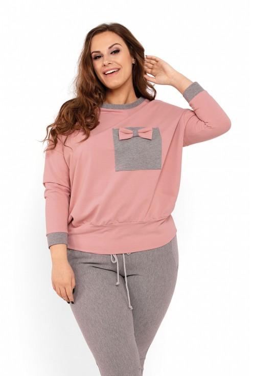 detal szaro różowa piżama plus size xxl