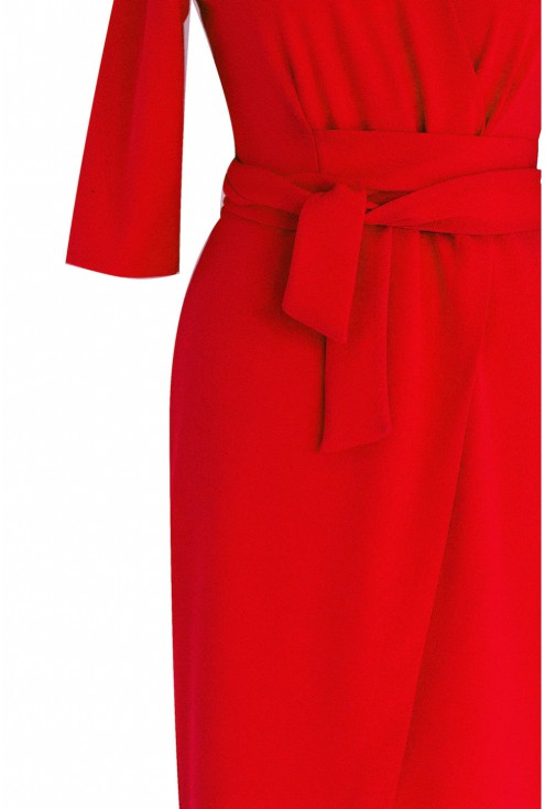 Czerwona sukienka z wiązaniem xxl