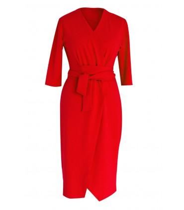 Czerwona sukienka z wiązaniem - VENEZIA