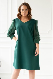 Butelkowa sukienka z szyfonowymi rękawami