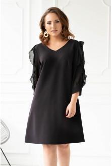 Czarna sukienka z szyfonowymi rękawami JANE