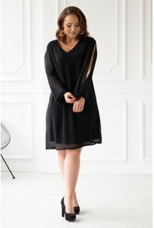 Czarna sukienka z rozcięciami na rękawach xxl