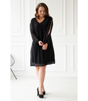Czarna sukienka z rozcięciami na rękawach - RUBY