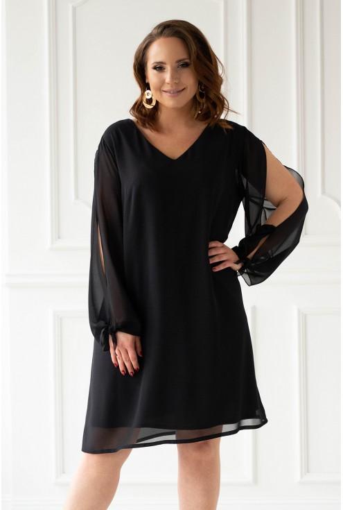 Czarna sukienka z rozcięciami na rękawach