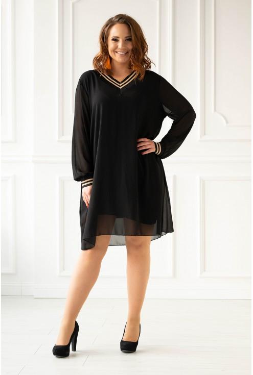 Czarna sukienka z czarno-złotymi ściągaczami