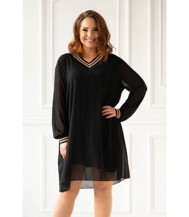 Czarna sukienka z czarno-złotymi ściągaczami - BRITNEY