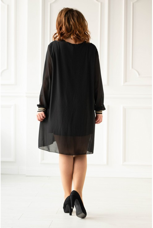 Czarna sukienka z czarno-złotymi ściągaczami xxl