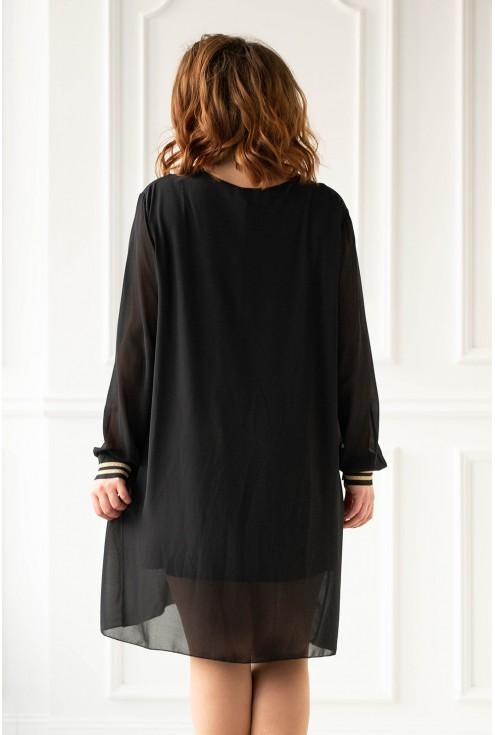 Czarna sukienka z czarno-złotymi ściągaczami plus size