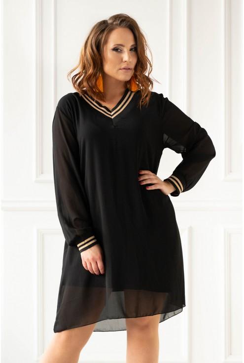 Sukienka z czarno-złotymi ściągaczami xxl