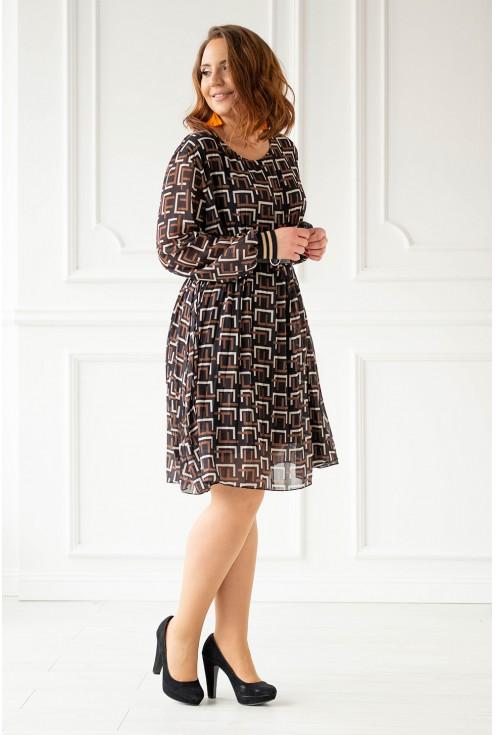 Plisowana sukienka z geometrycznym wzorem