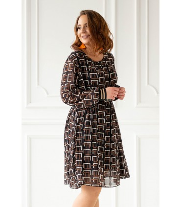 Czarno - brązowa plisowana sukienka z geometrycznym wzorem - LAURA