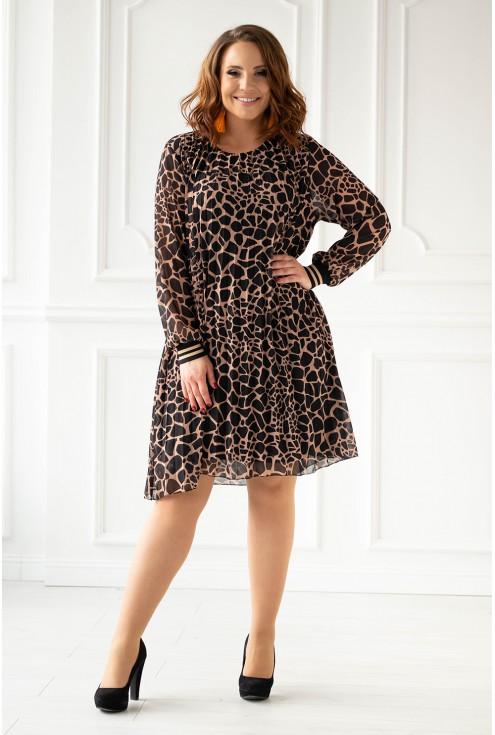 Sukienka z wzorem w panterkę xxl