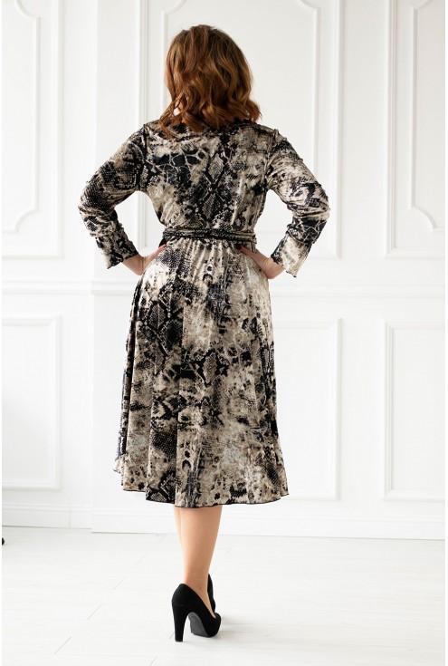 Jasna sukienka z jasnym wężowym wzorem - DOLCE WELUR