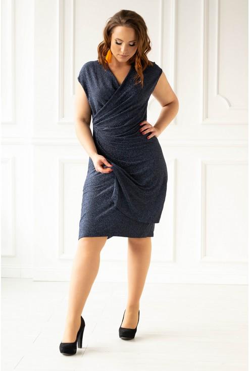 Granatowa błyszcząca sukienka z marszczeniem - LILLY