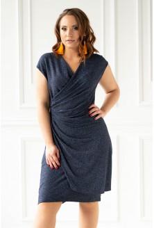 Granatowa błyszcząca sukienka z marszczeniem xxl