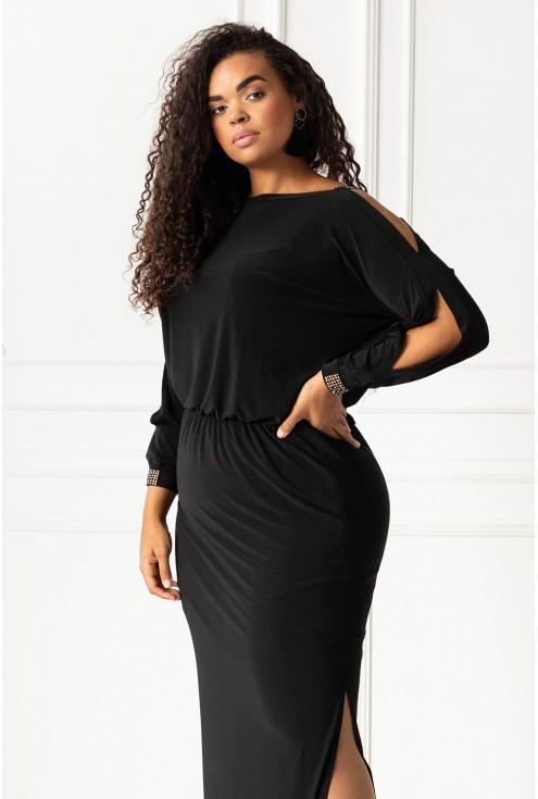 Czarna długa sukienka z diamentami xxl