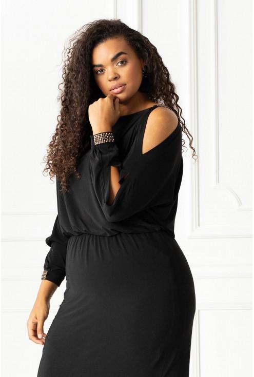 Czarna długa sukienka z diamentami plus size