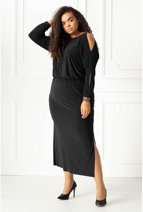 Czarna długa sukienka z diamentami duże rozmiary