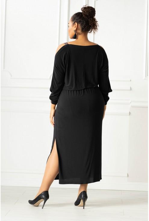 Czarna długa sukienka z rozcięciem xxl