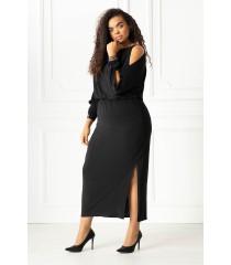 Czarna długa sukienka z diamentami - ALINE