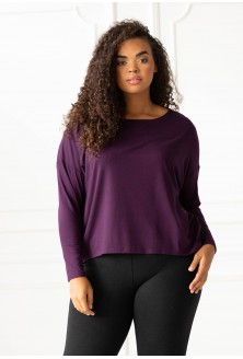 Oberżyna dzianinowa bluzka oversize duże rozmiary
