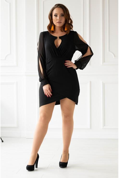 Czarna szyfonowa sukienka z głębokim dekoltem xxl