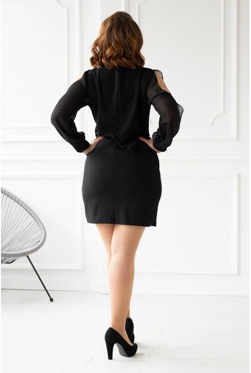 Czarna sukienka z głębokim dekoltem tył