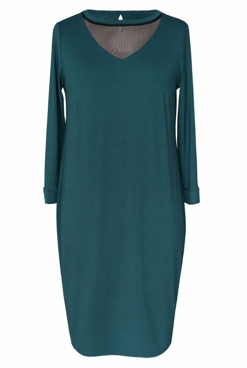 Butelkowa sukienka z siateczką w dekolcie xxl