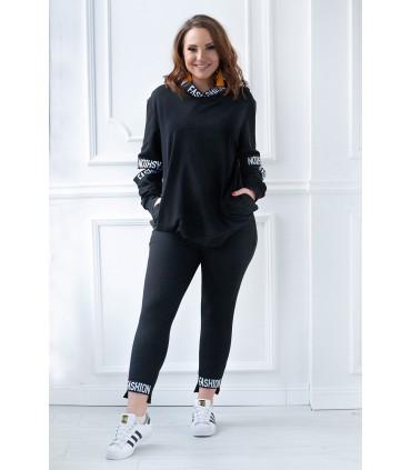 Czarny zestaw: bluza + legginsy - SOPHIE