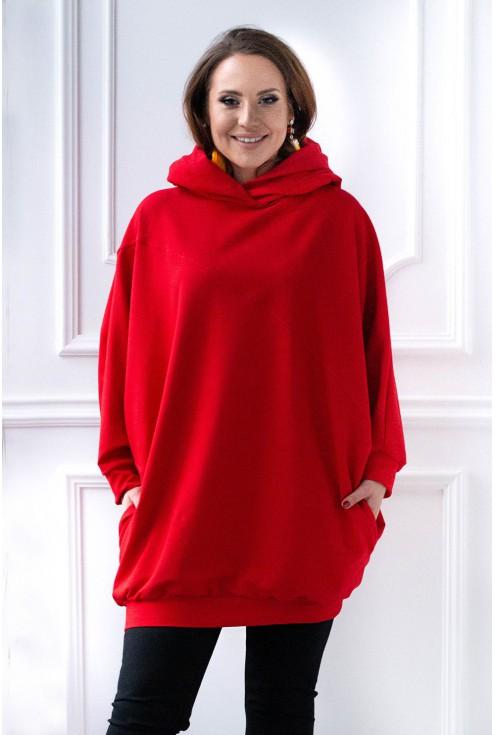 czerwona długa bluza z uszami xxl