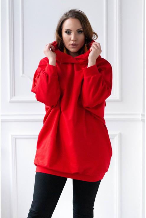 czerwona bluza z ozdobnymi uszami xxl