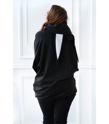 Czarna długa bluza oversize z uszami - RABIT