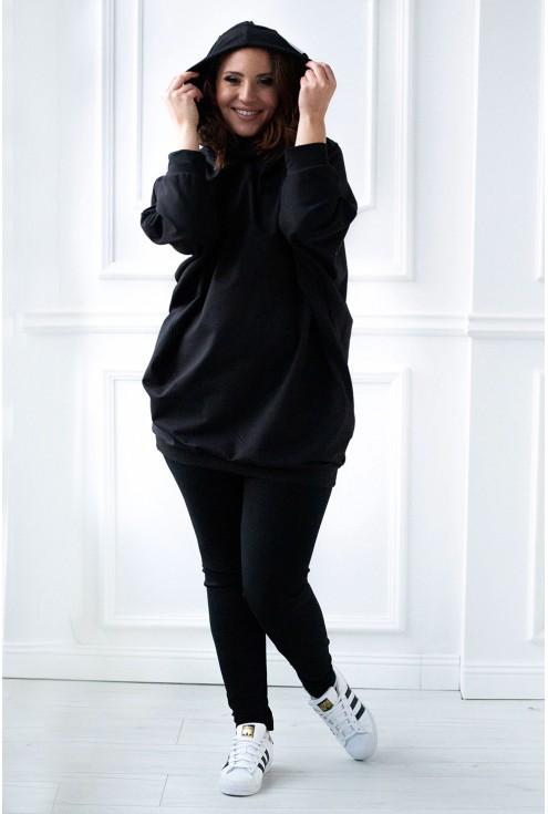 czarna długa bluza oversize - uszy - przód