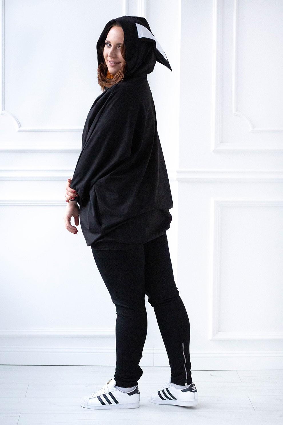 Czarna długa bluza oversize z uszami RABIT XL ka