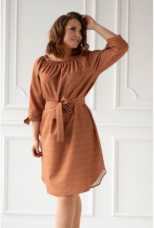 brązowa sukienka hiszpanka Elena duże rozmiary