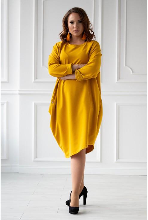 miodowa dresowa sukienka duże rozmiary