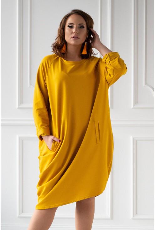 miodowa dresowa sukienka xxl