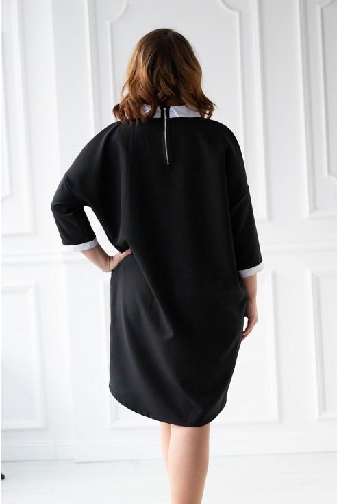 czarna sukienka z kołnierzykiem - tył