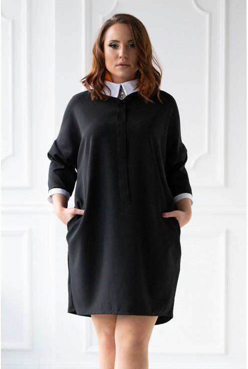 czarna sukienka z kołnierzykiem xxl