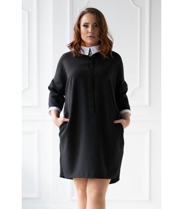 Czarna sukienka z kołnierzykiem - AFRODYTA