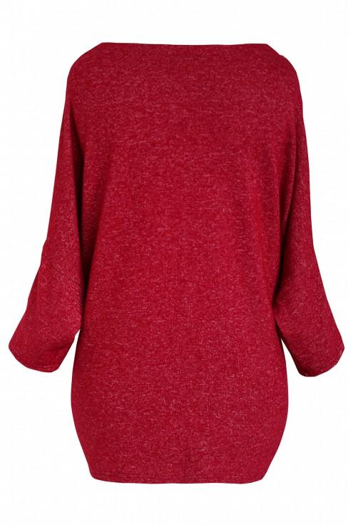 Bordowy sweterek duże rozmiary