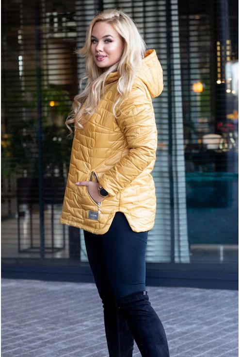Miodowa pikowana kurtka duże rozmiary
