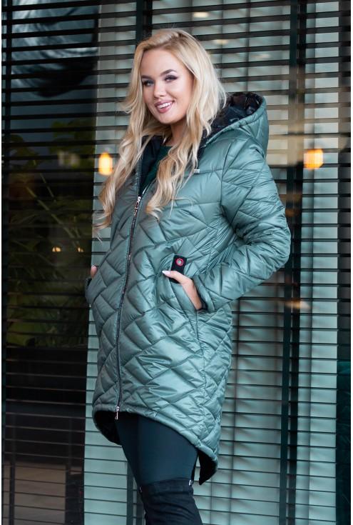 Khaki długa kurtka pikowana duże rozmiary