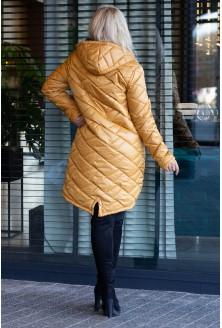 Zimowa długa kurtka pikowana
