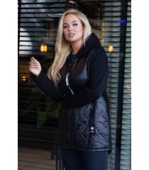 Czarna bluzo-kurtka z łączonych materiałów - KATY